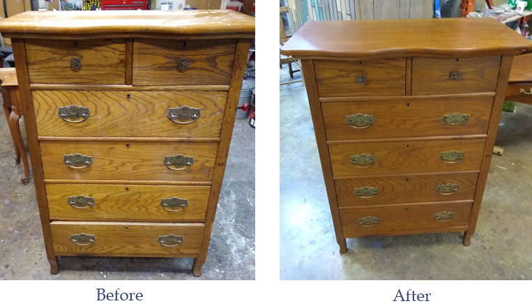 before & after furniture refinishing of an oak dresser